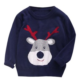 Wholesale Jumpers Clothing For Kids - Boys Girls Sweaters 2017 New Autumn&Winter Children Clothing Outerwear Cute Christmas Deer Kids Knitwear For 2-6Y