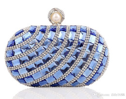 Wholesale Clutch Big Diamonds - Fashion shine women big rhinestone and acrylic metal evening bag Bridal clutch shoulder Chain Purse Wallet Makeup Cross Body Bag