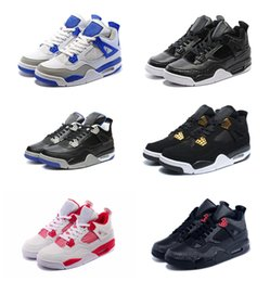 Wholesale Color Thread For Leather - New color retro 4 alternate motorsports white cement pure money royalty military blue bred thunder black cat oreo sneakers for men