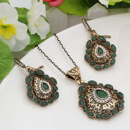 Wholesale Antique Jade Rings - New Style 3pcs Jewelry Sets Turkish Antique Gold Color Hollow Out Floral Earring&Necklace&Ring Women Princess Hooks Bijoux