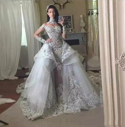 Wholesale Bling Organza Wedding Dresses - 2017 Lace Ball Gown Wedding Dresses with High Collar Detachable Overskit Sheer Beaded Applique Crystal Silver Long Train Bling Bridal Gowns