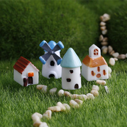 Wholesale Wholesale Church Decorations - Mini windmill doll house church castle fairy garden miniatures gnomes moss terrariums resin craft for diy home decoration accessories