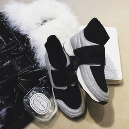 Wholesale Women Flat Bling Shoes - 2018 Spring Fashion Mixed Color Brand Silver Bling-bling Sock Style Short Boots Platform Casual Shoes Winter Running Shoes
