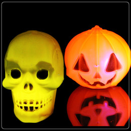 Wholesale Led Bulbs Sizes - LED Pumpkin Halloween Lights Halloween decorations plastic Lantern Yellow led pumpkin and RGB Skull head night lamp 5cm*5cm size