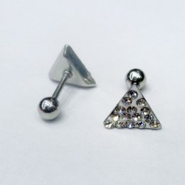 Wholesale Swarovski Plug - Ear Cartilage Piercings Surgical Steel Barbell With Swarovski Crystal Triangle Ear Helix Tragus Earrings 16g Body Piercing Jewelry BJ7311