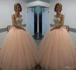Wholesale Gold Peach Sequin Dress - Princess 2017 Peach Quinceanera Dresses Sweetheart Ball Gown Prom Dresses for Sweet 16 with Beaded Crystal Princess Prom Gowns