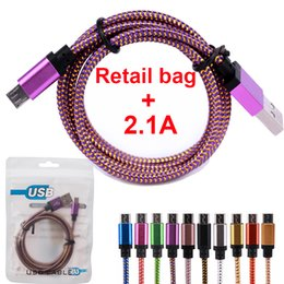 Wholesale Metal For Fabric - 1m 2m 3m 10ft Fabric Cords Nylon Braided Micro USB Cable Unbroken Metal Connector Lead Charger 2A Cord Android with DHL Free Shipping