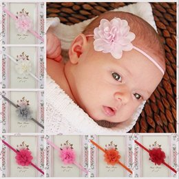 Wholesale Thin Elastic Baby Headbands - Baby Headbands Mini Chiffon Flower Headbands Thin Elastic Bands Toddler Girls Newborn Headbands 20pcs