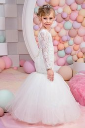 Wholesale Long Party Dresses For Kids - 2017 New Flower Girls Dresses For Wedding Jewel Neck Mermaid Long Sleeves Lace Tulle Beaded Floor Length Children Kids Party Communion Gowns