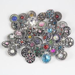 Wholesale Leather Metal Chain Jewelry - 50pcs 12mm wholesale noosa metal chunks mix styles rhinestone snap button jewelry for leather bracelet