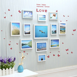 Wholesale Box Framed Picture - Living Room Decorative Wall Photo Frame Picture Wall Decor Creative heart-shaped No Trace Nails Hanging 12pcs   set Mixed color