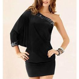 Wholesale One Shoulder Sequin Batwing Dress - New Fashion Mini Dress Sexy Dress Club Wear Dress One Size Black Party Dress Free Shipping