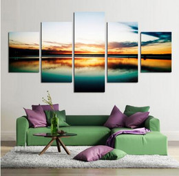 Wholesale Spray Paint Images - Fashion 5 piece large canvas art cheap painting modern abstract HD image oil painting seascape wall decor for living room hotel