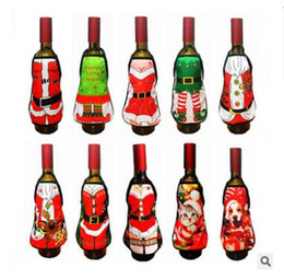 Wholesale Lady Sexy Santa - Apron Bottle Wine Cover Christmas Sexy Lady Santa Pinafore Red Wine Bottle Wrapper Holiday Bottle Clothes Dress DHL Free Shipping