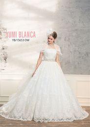 Wholesale Train Shawl Wedding Dress - vestidos longos Detachable Jacket Shawl Ball Gowns Lace Wedding Dress Ruffled Organza Long Train Bridal Dress New Arrival