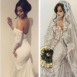 Wholesale Sexy Brides Gloves - Charming Mermaid Wedding Dresses Off the Shoulder Without Gloves Cathedral Train Sweetheart Vintage Modern Bride Gowns Wedding Guest Dress
