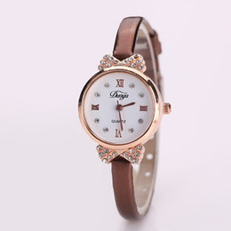 Wholesale Women Watches Colour - Fashion Women Watches Crystal Diamond Design Young Women Slim Dress 5 Colour Leather Watchband Personality Women Gift Watch