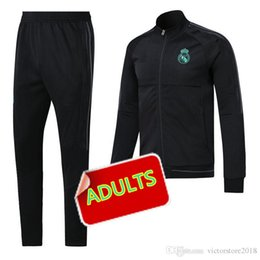Wholesale Men S Shorts Pants - Real Madrid soccer 2017 Real madrid Man soccer chandal football tracksuit Adults training suit skinny pants Sportsw