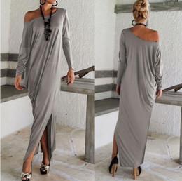 Wholesale Ladys Dresses - 1511 New summer style Women Elegent Maxi Long Sleeve Irregular Party Wrap Plus Size Loose Dress Ladys Oversize Vestidos