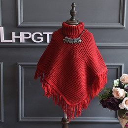 Wholesale Girls Kids Blazer - Baby Girls Poncho Cape Christmas 2016 Autumn Winter Childrens Kids Clothing Party Poncho Cape Red Khaki Tassels Dress Coat Blazers Sweater