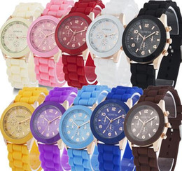 Wholesale Geneva Candy Watches - China luxury mens-watches women men geneva watch rubber candy jelly fashion unisex silicone quartz wrist watches for men women wristwatch