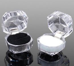 2019 anel de fita vermelha atacado 4 * 4 * 4 cm de plástico transparente caixa de jóias caixa de anel brincos caixa de embalagem caixa de presente