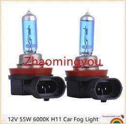Wholesale Headlight Super White Bulbs - 10pcs 12V 55W 6000K H11 Car Fog Light Bulb Lamp Super White Halogen Car Auto Head Lamp H11 Car Styling for Car Headlight Bulb