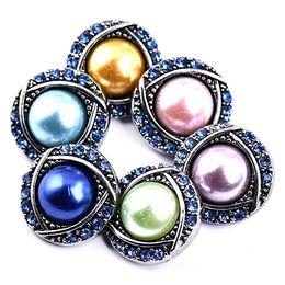 knopfperlenkette Rabatt 10Pcs 6Colors Perlen Crystal Button 18mm Button Snap Charms Schmuck austauschbar Jewerly Charms Anhänger Halskette
