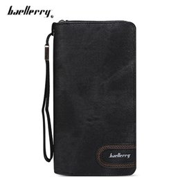 Wholesale Stylish Wallets For Men - Baellerry Stylish PU Leather Card Holder Clutch Wallet for Men Fashion leather wallet with strap high quality zipper wallets +B