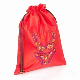 Wholesale Drawstring Bag Satin Blue - Fine Embroidered Portable Bra Underwear Lingerie Travel Storage Bag Reusable Drawstring Satin Fabric Gift Pouch Craft Packaging Bags 25x35cm