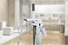 Wholesale Fixing Bathroom Faucet - Bathroom Bathtub Floor Stand Waterfall Mixer Faucet Tap Set & Hand Held Shower Chrome Solid Brass Wholesale Free Shipping 6201