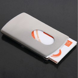 Wholesale Metal Name Business Card Case - Fashion Stainless Steel Pocket Business Name Credit ID Card Holder Box Metal Box Case with retail box