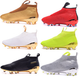 Wholesale Cheap Mens Soccer Cleats - Cheap Kids Mens Womens Soccer Cleats ACE 16+ Purecontrol FG High Tops Football Boots Sales Soccer Boots Pure Control Soccer Shoes kid Green