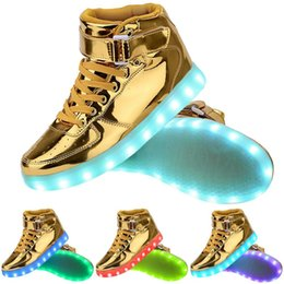 Wholesale Drop Charge - 7 Colors Light Up High Top Sports Sneakers shoes Women Men High Top USB Charging LED Shoes Flashing Sneakers shoe lot drop shipping