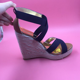 Sandalia de tacón azul marino online-Azul marino Banda Elástica para Mujer Sandalias Cuñas Plataforma de Tacón Alto Marrón PU Atado Cruzado 2016 Nueva Llegada Zapatos Mujer Foto Real Sandalias