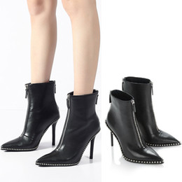 Wholesale Short Womens Winter Boots - 2018 New Cow Leather Ankle Zip Short boots Pointed Toe Thin Heels Solid Rivet Womens High Heel Ankle Boots size 33-39
