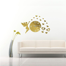 Wholesale Mirror Clock Fairy - Stylish Fashion 3D DIY Fairy And Heart Clock Mirror Wall Sticker Modern Home Decoration Decal The Best Quality