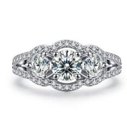 Wholesale Round Cut Diamond Engagement Rings - 10K White Gold Fill Round Cut Lad Diamond Square Halo Engagement Ring 2.00 Ct