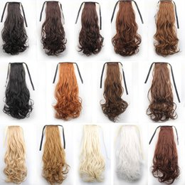 "Wholesale long curly ponytail extensions - 24"" 60cm 120g long curly ribbon ponytails clip in hair extensions ponytail synthetic hairpiece accessories 16colors W679L"
