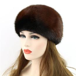 Wholesale Mink Fashion Clothing - Wholesale-Genuine Winter 2016 Mink Fur Hat cap in women clothing Fur Headdress Warm Fashion Cap Hats Headgear