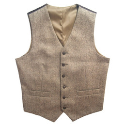 2017 Tweed Vintage Rustic Wedding Vest Brown with Leather Effect Buttons Winter Slim Fit Groom's Wear