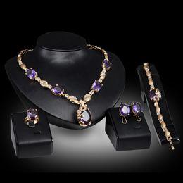 Anelli Collane Bracciali Orecchini Set di gioielli Moda Royal Imitation Gemstone 18K Placcato oro gioielli Party 4 pezzi Set all'ingrosso JS061 supplier imitation royal jewelry da imitazione gioielli reali fornitori