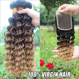 Wholesale Unprocessed Honey - Unprocessed Peruvian Ombre Hair Deep Wave With Closure 4Pcs Lot Three Tone 1B 4 27 Honey Blonde Ombre Human Hair With Lace Closure