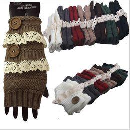 Wholesale Crochet Fingerless Gloves Wholesaler - Winter Gloves Warm Crochet Fitness Gloves Women Lace Button Wrist Warmer Ladies Soft White Fingerless Gloves Gants YYA744