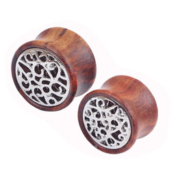 Wholesale Solid Plugs - 2016 new wood Solid ear plugs and tunnels piercing body jewelry ears gauges wholesale 8mm to 18mm Flesh tunnel