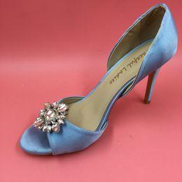 "Wholesale Ivory Satin Rhinestone Kitten Heel - Light Blue Wedding Shoes Made-to-order Wedding Pumps Satin Upper Crystals Slip-ons Party Dance 3.5"" High Heels Women Sandals Wrapped Heel"