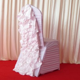 Wholesale Spandex Ruffle Chair Covers - white ruffle spandex lycra chair cover with satin crush flower