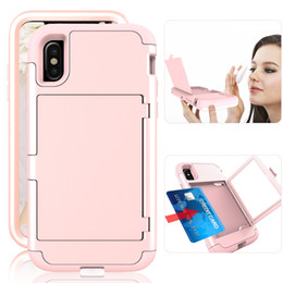 Wholesale Mirror Light Covers - For Iphone X Armor Shockproof protection Hybrid PC TPU Cover Mirror Card Slot Case For Samsung S8 Plus Iphone 8 7 6s 6 plus Opp Bag