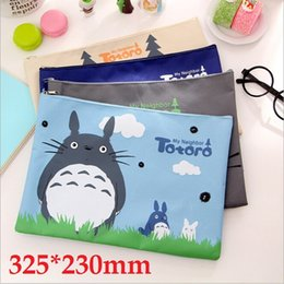 Wholesale Cosmetic Wholesale Suppliers - Wholesale-325*230mm New Japan Cartoon Totoro cat series Canvas File bag Cosmetic Bag file product office supplier  4styles