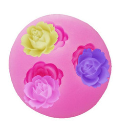 Wholesale Chocolate Decorate - 3 Hole Flower Shape Silicone Fondant Mould DIY Rose Pattern Chocolate Sugarcraft Mold Candy Paste Cake Decorating Tool mold HY768
